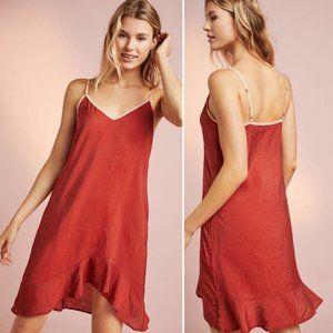 NWT Anthro Lacausa Asymmetrical Ruffled Slip Dress